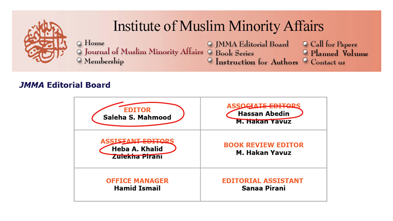 1016 - Current Board Of Institute Of Muslim Minority Affairs