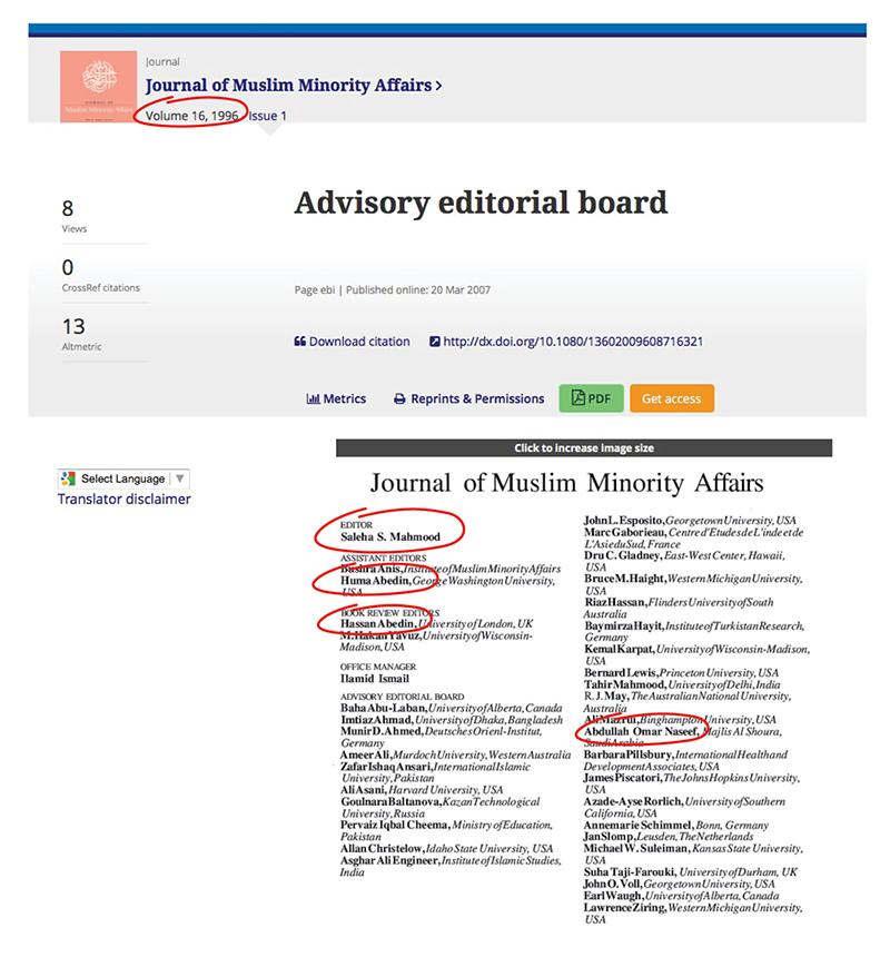 1016 - Editorial Board Of Journal Of Muslim Minority Affairs