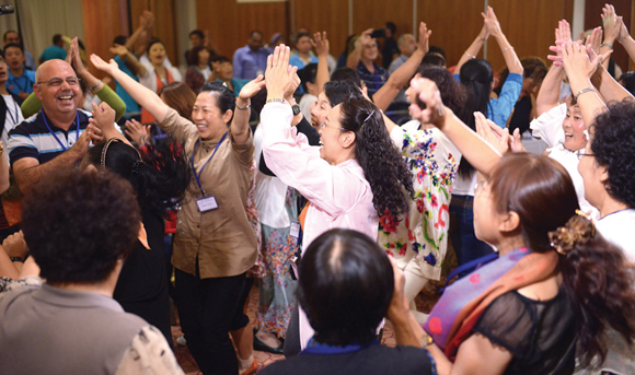 1113 - Chinese and Jewish believers dance at the Israel-China conference