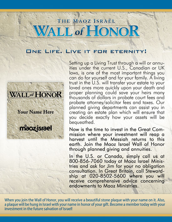 Wall of Honor - Planned Giving